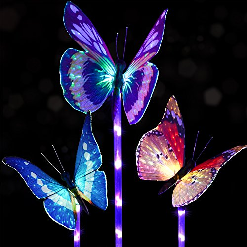 Doingart Garden Solar Lights Outdoor   3 Pack Solar Stake Light Multi Color  Changing LED Garden Lights, Fiber Optic Butterfly Decorative Lights, ...