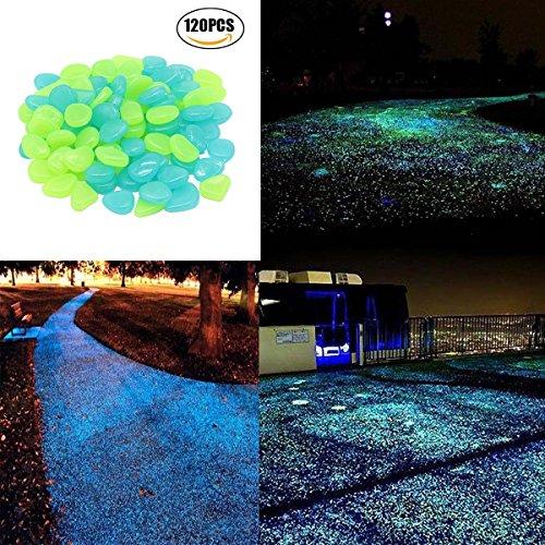 120 Pcs Glow In The Dark Stones Decorative Stones Garden Pebbles Rocks For Outdoor Artificial