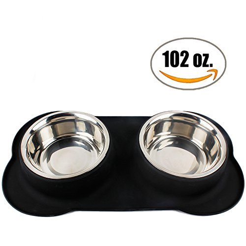 Large Dog Bowl Two 51 Oz Stainless Steel Dog Bowls With