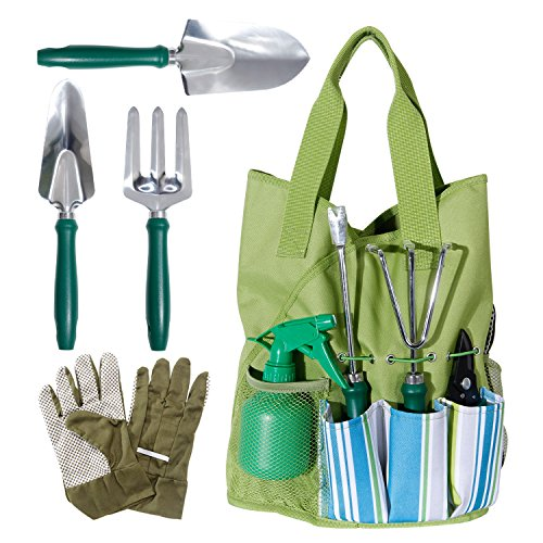 Wolfwise 9 piece garden tools set gardening tools with for Ladies garden trowel set