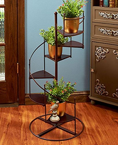 Plant Stand Spiral Staircase Planter Metal And Wood 6