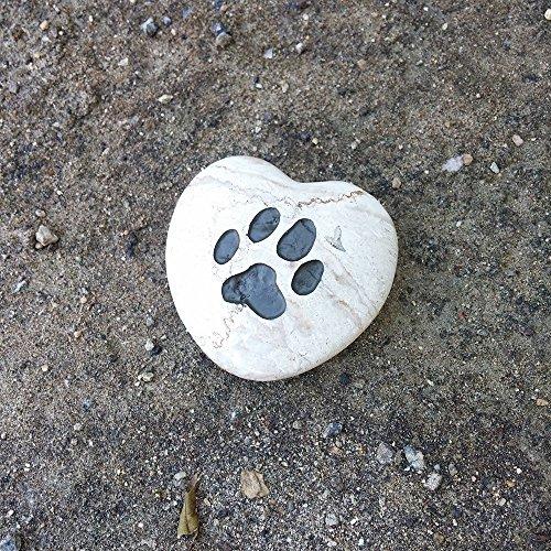 Paw Print Engraved Pet Memorial Stone Heart Shape Jasper