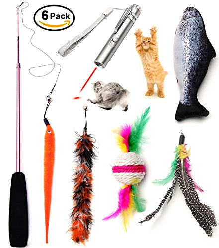 Kidsky cat toys set cat retractable teaser wand for Retractable cat wand