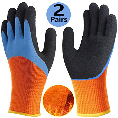 Cold Weather Work Gloves, Double Coating Non-Slip Water ...