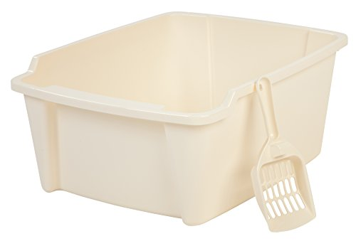 Iris High Sided Open Litter Pan With Scoop White