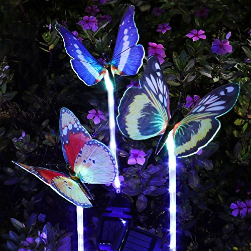 The Prettiest Garden Lights Ever! 30 Inch Tall, 3 Pack Rgb Color Changing  Solar Powered Fiber Optic Butterfly Garden Stake Lights, With 5 Purple LEDs  In ...