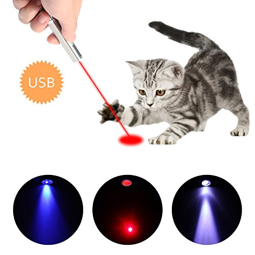 Jjypet Rechargeable Cat Laser Pointer 3 In 1 Red Laser Pointer Interactive Cat Toy