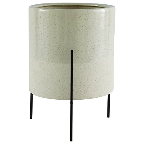 Rivet Mid Century Ceramic Planter With Iron Stand 17 H
