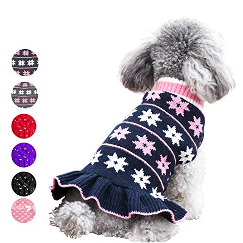 3f5958001b3c azuza Cute Dog Sweater Dress Dogs Pullover Turtleneck Knit Back Length 10″  Snowflake Fall Winter Warm for Small Dogs Sweater